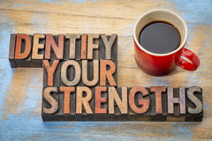 Identify your strengths. Word abstract in vintage letterpress wood type blocks stained by color inks with a cup of coffee Royalty Free Stock Photography
