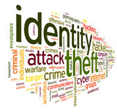 Identity theft in word tag cloud Stock Photos