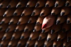 Identische schwarze Graphitbleistifte und ein roter Bleistift Stockfotografie