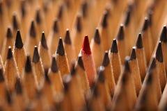 Identische schwarze Graphitbleistifte und ein roter Bleistift Lizenzfreies Stockfoto