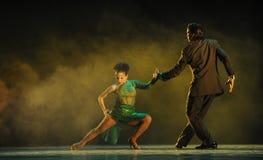 identità luminosa- del bello profilo del dramma di ballo di mistero-tango Fotografia Stock Libera da Diritti