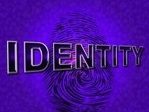 Identitäts-Fingerabdruck bedeutet Klotz Ins und Konto Lizenzfreie Stockfotos