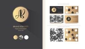 Identité de marque de luxe Lettres de la calligraphie ab - conception sophistiquée de logo Designs de carte d'affaires de couples Photo stock