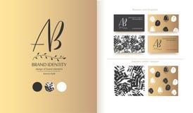 Identité de marque de luxe Lettres de la calligraphie ab - conception sophistiquée de logo Designs de carte d'affaires de couples Images libres de droits