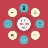 Identité plate d'icônes, instrument de musique, vacances et d'autres éléments de vecteur Photo libre de droits
