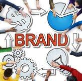 Identità di marchio di fabbrica di marca commerciale che marca a caldo diverso concetto della gente Immagini Stock Libere da Diritti