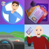 Identiteitskaart-de bannerreeks van de bestuurdersvergunning, beeldverhaalstijl vector illustratie