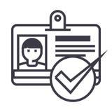 Identiteitskaart, pas, pictogram van de vergunnings het vectorlijn, teken, illustratie op achtergrond, editable slagen vector illustratie