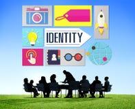 Identitet som brännmärker affärsidé för märkesmarknadsföring fotografering för bildbyråer
