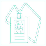 Identitetskort av personen, emblem, identitetskort planlägg linjen Royaltyfri Fotografi