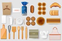 Identity branding mockup for bakery. Easy to edit vector illustration of identity branding mockup for bakery Stock Photos