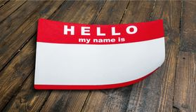 Identity card. My hello is name tag label red stock images