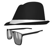 Identity concept of a retro fedora hat and dark glasses disguise. Classic spy or mystery man disguise of dark tinted glasses and a black fedora Royalty Free Stock Photography
