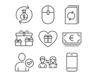 Identity confirmed, Surprise boxes and Euro currency icons. Set of Identity confirmed, Surprise boxes and Euro currency icons. People communication, Update Stock Photography