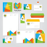 Identity corporative set design template in hot yellow, red and orange colors on white background. Stock Image