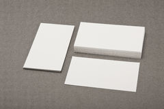 Identity design, corporate templates, company style, blank busin. Ess cards on grey background Stock Image