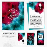 Identity design for Your Wine studio business. Set of blanks, bu Royalty Free Stock Photo