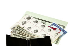 Identity Documents with Wallet and Money Stock Image