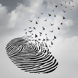 Identity Freedom Concept. As a fingerprint transforming into flying birds as a metaphor for a person losing a psychological identity or a symbol of death and stock illustration