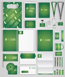 Identity. Green design template of corporate identity with big set of business stationery. Vector illustration vector illustration
