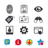 Identity ID card badge icons. Eye symbol. Stock Image