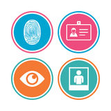 Identity ID card badge icons. Eye symbol. Royalty Free Stock Photo