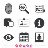 Identity ID card badge icons. Eye symbol. Identity ID card badge icons. Eye and fingerprint symbols. Authentication signs. Photo frame with human person Royalty Free Stock Images