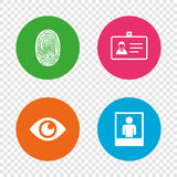 Identity ID card badge icons. Eye symbol. Stock Images