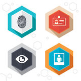 Identity ID card badge icons. Eye symbol. Hexagon buttons. Identity ID card badge icons. Eye and fingerprint symbols. Authentication signs. Photo frame with Royalty Free Stock Image