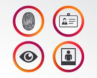 Identity ID card badge icons. Eye symbol. Identity ID card badge icons. Eye and fingerprint symbols. Authentication signs. Photo frame with human person Stock Images