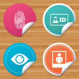 Identity ID card badge icons. Eye symbol. Round stickers or website banners. Identity ID card badge icons. Eye and fingerprint symbols. Authentication signs Royalty Free Stock Images