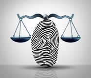 Identity Law. Justice concept as a finger print or finger print shaped as a legal court scale as a lawyer or attorney services metaphor or hacking and hacker Royalty Free Stock Photo