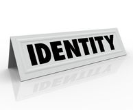 Identity Personal Character Distinctive Name Tent Card Stock Image