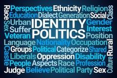 Identity Politics Word Cloud. On Blue Background royalty free illustration