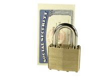Identity Protection. Padlock and social security card against white background stock images