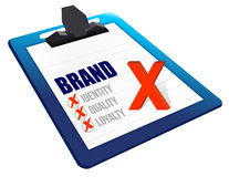 Identity, Quality and Loyalty checklist clipboard Stock Image