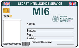 Identity a secret agent of MI 6. The identity a secret agent of MI 6. Certification Secret Intelligence Service in England Stock Photos