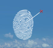Identity Security Concept. As an acrobatic jet airplane making a smoke trail shaped as a fingerprint or thumbprint symbol as a cloud data storage metaphor for Stock Image