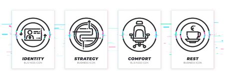 Identity, strategy, comfort, rest. Business theme glitched black icons set. royalty free illustration