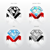 Identity symbol for jewelry industry companies. Diamond in side view with ribbon Royalty Free Stock Images