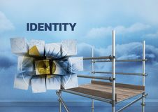 Identity Text with 3D Scaffolding and eye in blocks. Digital composite of Identity Text with 3D Scaffolding and eye in blocks Royalty Free Stock Image