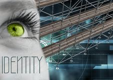 Identity Text with 3D Scaffolding and eye over interface. Digital composite of Identity Text with 3D Scaffolding and eye over interface Stock Images