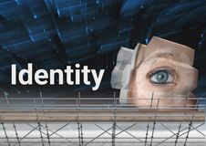 Identity Text with 3D Scaffolding and eye structure. Digital composite of Identity Text with 3D Scaffolding and eye structure Stock Images