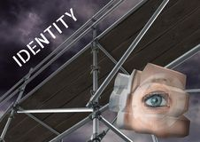 Identity Text with 3D Scaffolding and eye structure. Digital composite of Identity Text with 3D Scaffolding and eye structure Royalty Free Stock Images
