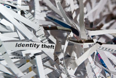Identity theft. Abstract image of shredded paper with your identity strip Royalty Free Stock Photography