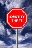 Identity theft. Sign warning for identity theft on the internet (concept for data security Royalty Free Stock Image