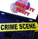 Identity theft. Laptop fingerprint with Identity Theft text royalty free stock image