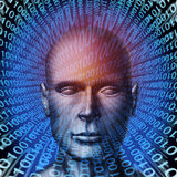 Identity Theft. Technology security concept with a human head and digital binary code background as a symbol of internet fraud and data protection from ID stock illustration