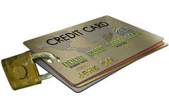 Identity Theft. Isolated on white, a credit card with padlock Stock Photography