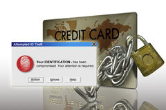 Identity Theft. Typical plastic credit card with identity theft warning royalty free stock images